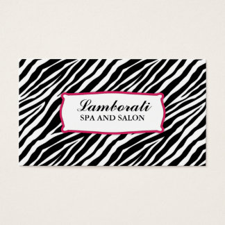 Zebra Print Hair Stylist Hairdresser Salon Pink Business Card