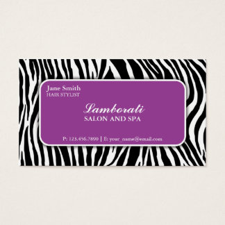 Zebra Print Hair Stylist Hairdresser Salon Purple Business Card
