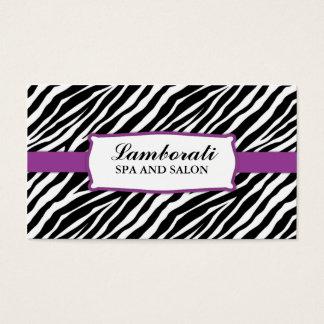 Zebra Print Hair Stylist Hairdresser Salon Purple Business Card