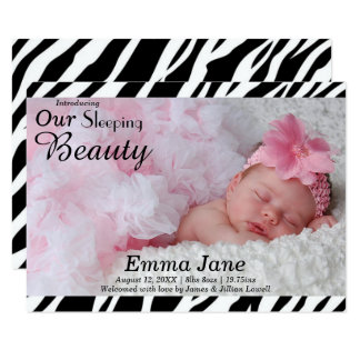 Zebra Print Photo - 3x5 Birth Announcement