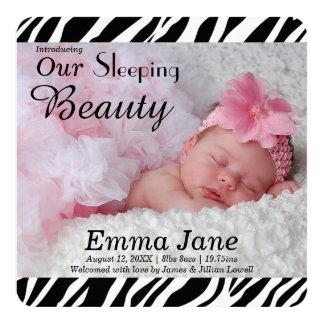 Zebra Print Photo Birth Announcement