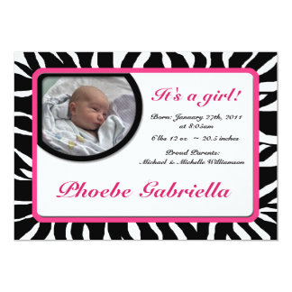 Zebra Print Pink Birth Announcements