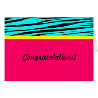 Zebra print pink blue congratulations card