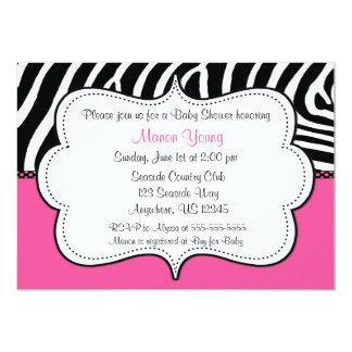 Zebra Print Pink Invitaiton 13 Cm X 18 Cm Invitation Card