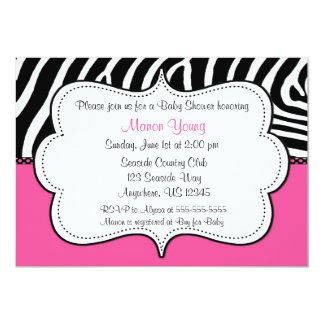 Zebra Print Pink Invitaiton Announcement