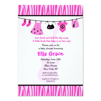 Zebra print Rock Star Baby Shower Invitaitons Personalized Announcement