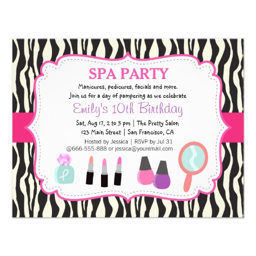 Zebra Print Spa Birthday Party Invitation Personalized Announcement
