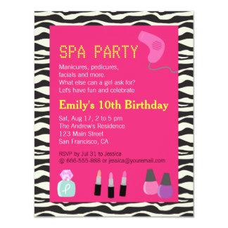 Zebra Print, Spa Party, For Girls 11 Cm X 14 Cm Invitation Card