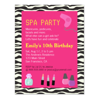 "Zebra Print, Spa Party, For Girls 4.25"" X 5.5"" Invitation Card"