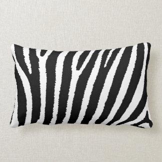 Zebra Print Striped Black and White pillow
