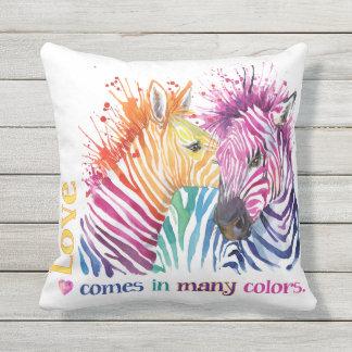Zebra Rainbow Outdoor Pillow
