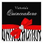 Zebra Red Bow Diamond Quinceanera Invitations