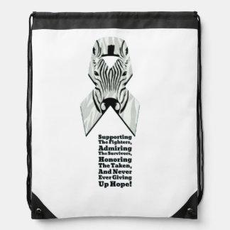 Zebra ribbon drawstring bag