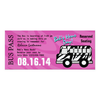 Zebra Stripe Bus Pass Hens Party Card