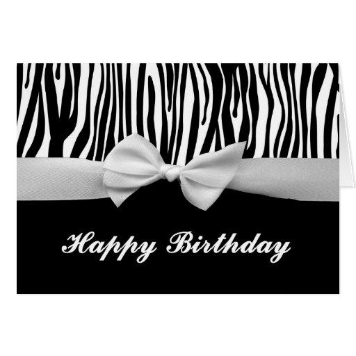 Zebra Stripe & White Ribbon Graphic Happy Birthday