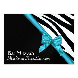 Zebra Stripes and Ribbon Bat Mitzvah 13 Cm X 18 Cm Invitation Card