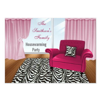 zebra stripes, chic Pink sofa, mod invites