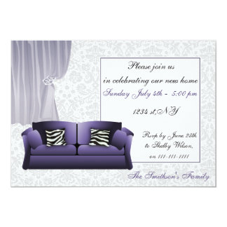 zebra stripes, chic Purple couch, mod invites