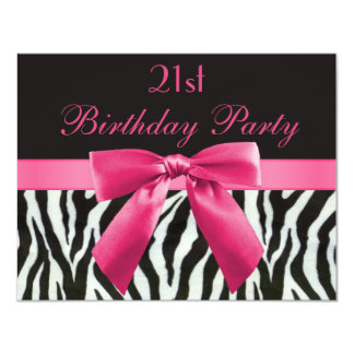 Zebra Stripes & Hot Pink Printed Bow 21st Birthday 11 Cm X 14 Cm Invitation Card