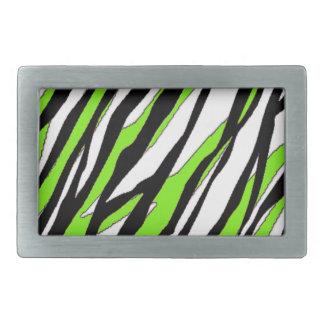 Zebra Stripes Lime Green Rectangular Belt Buckle