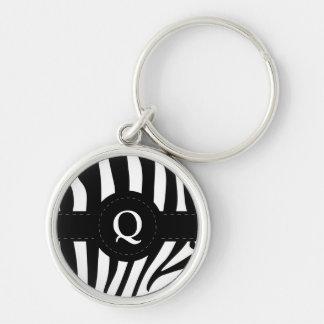 Zebra stripes monogram initial Q custom Keychain