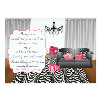 zebra stripes, pink gray chevron, chandelier couch card