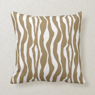 Zebra stripes - Taupe Tan and White Cushion
