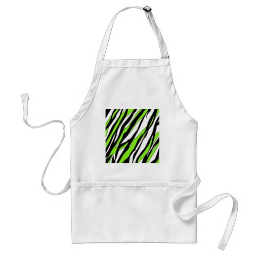 Zebra Stripes with Abstract Lime Green Stripes Apron