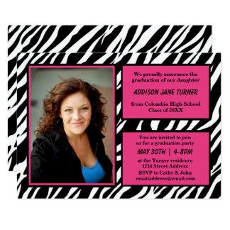 Zebra w/Pink Trim with Photo - Grad Announcement