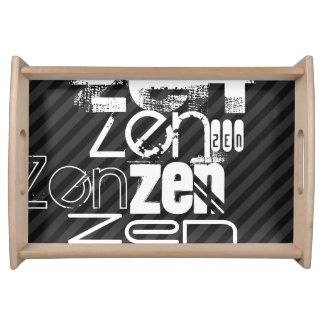 Zen; Black & Dark Gray Stripes Serving Tray
