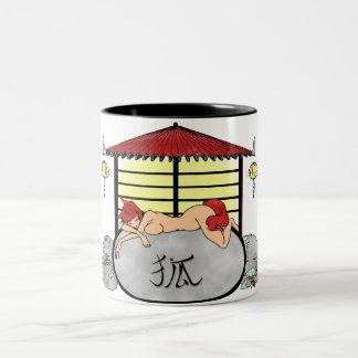 Zen japanese landcape manga Two-Tone coffee mug