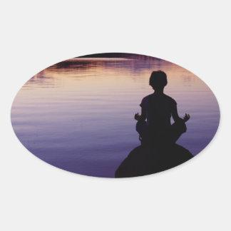 Zen peace yoga stillness meditation nature oval stickers