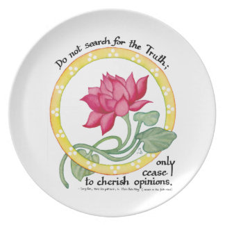 Zen quote and lotus plate