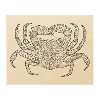 Zendoodle Crab 5 Wood Wall Decor