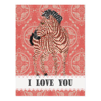 Zenya Retro Red Love  Postcard