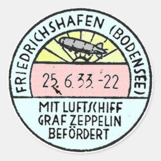 Zeppelin Design of Original Postmark Classic Round Sticker