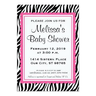 Zerbra Print & Pink Custom Baby Shower Invitation