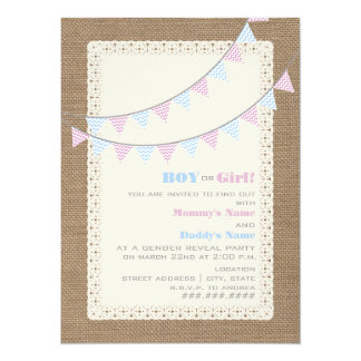 Zigzag Bunting Gender Reveal Party Invitation