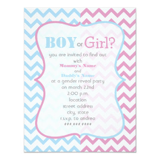 Zigzag Chevron Gender Reveal Party Invitation