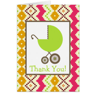 Zigzag & Green Carriage Baby Shower Thank You Card