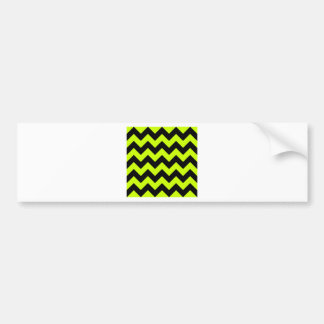 Zigzag I - Black and Fluorescent Yellow Bumper Stickers