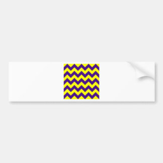 Zigzag I - Yellow and Dark Violet Bumper Sticker