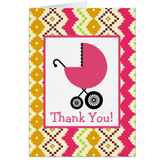 Zigzag & Pink Carriage Baby Shower Thank You Cards