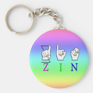 ZIN FINGERSPELLED ASL NAME SIGN BASIC ROUND BUTTON KEY RING