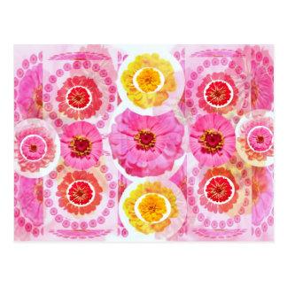 ZINNIA Flower Collage -  Artistic Transformations Postcard