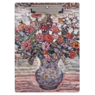 Zinnias by Maurice Prendergast, Vintage Floral Art Clipboard