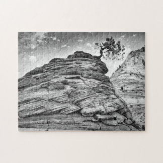 Zion National Park Bonsai Tree Black and White Jigsaw Puzzle