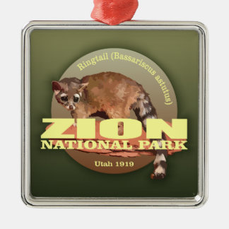 Zion NP (Ringtail) WT Silver-Colored Square Decoration