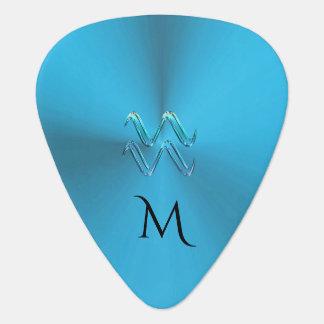 Zodiac Sign Aquarius Colourful Monogram Guitar Plectrum