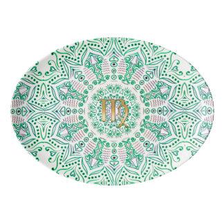 Zodiac Sign Virgo Green Mandala Porcelain Serving Platter